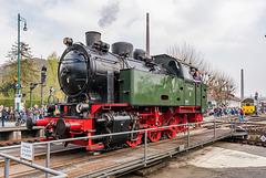 Dampflok D5 der Hespertalbahn zum Museumstag in Bochum-Dahlhausen auf der Drehscheibe