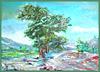ein Gemälde mit Baum
