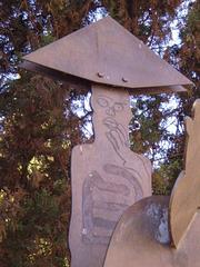Adding attitude to a knight's sculpture.