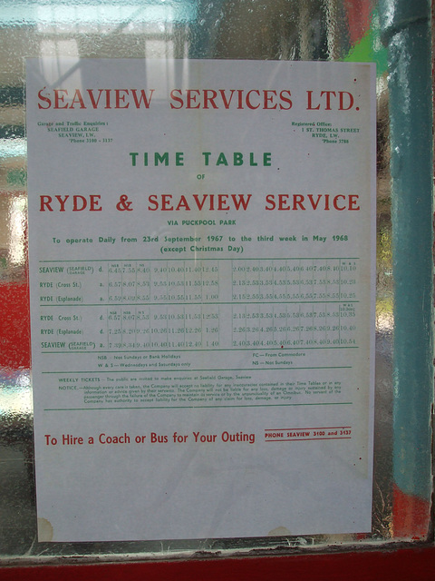 DSCF8766 Seaview Services timetable displayed at the Isle of Wight Bus and Coach Museum - 6 July 2017