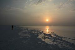 Ethiopia, Danakil Depression, Sunrise over the Salt Lake Karum