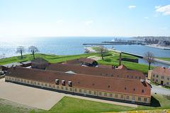Denmark, View towards the Helsingor Ferry Port from the Tower of Kronborg Castle