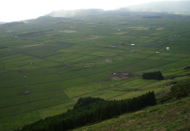 Towering view to agricultural fields at south.