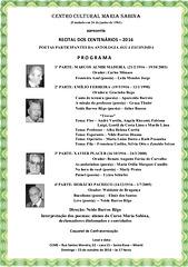 PROGRAMA DO RECITAL DE POETAS CENTENÁRIOS PARTICIPANTES NA ANTOLOGIA ÁGUA ESCONDIDA