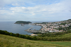 Azores, The Island of Faial, The Port of Horta from the Overview Point of Our Lady of Conception
