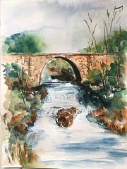 Aquarelle :  Le vieux pont