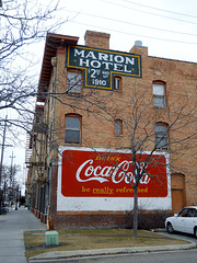 back of Marion Hotel (with repainted signs)