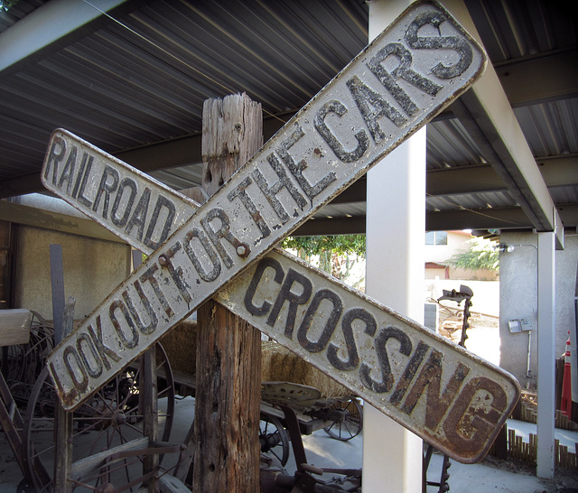 Rairlroad Crossing Sign at Coachella Valley History Museum (2604)