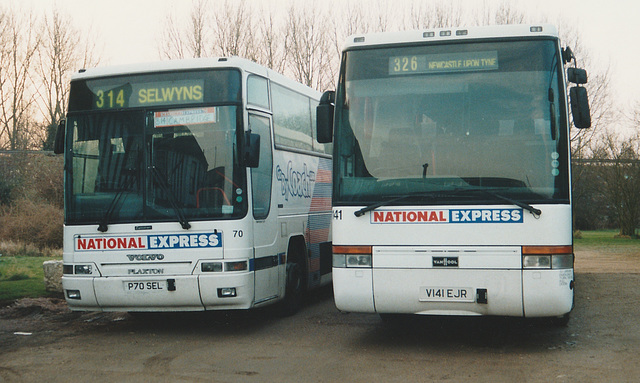 Selwyns P70 SEL and Arriva Northumbria V141 EJR at Whittlesford - 2 Feb 2003