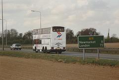 Ambassador Travel 918 (C918 BPW) on the A11 at Barton Mills – 8 Apr 1990 (115-23)