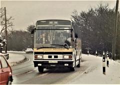 Ambassador Travel LT902 (A902 KAH) on the A11 at Barton Mills – 9 Feb 1985 (8-32)
