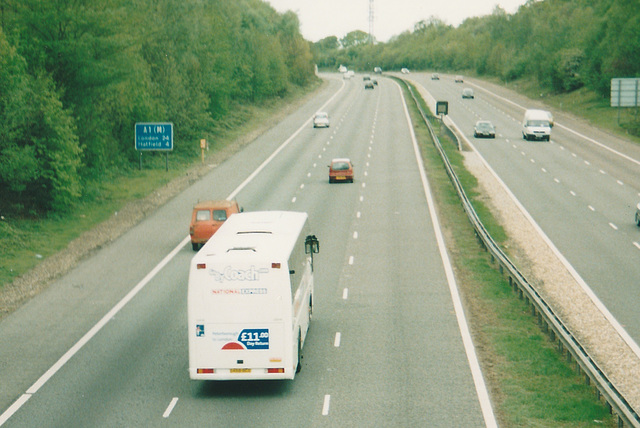 Stagecoach Viscount coach working for National Express on the A1(M) - 3 May 2003