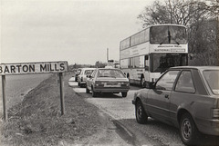 Ambassador Travel ML905 (A668 XDA) on the old A11 at Barton Mills – 28 Apr 1985 (16-15A)