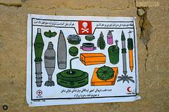 Warning of mines, ammunition and UXOs (unexploded ordnance)