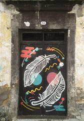 Painted on door.