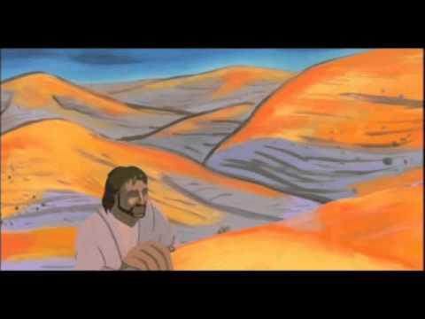 Jesuo en la dezerto, tentata de la diablo