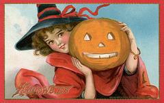 Halloween—Witch with Jack-o'-Lantern