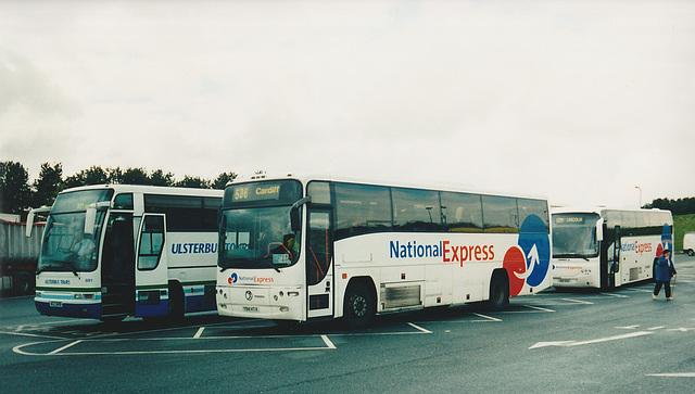 Ulsterbus ACZ 6691, Bebb Travel Y94 HTX and Park's HSK 642 at Tebay - 6 May 2004