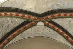 Ornements gothiques de la Maison du Chamarier, rue Saint-Jean, Vieux Lyon, Lyon (Rhône, France)
