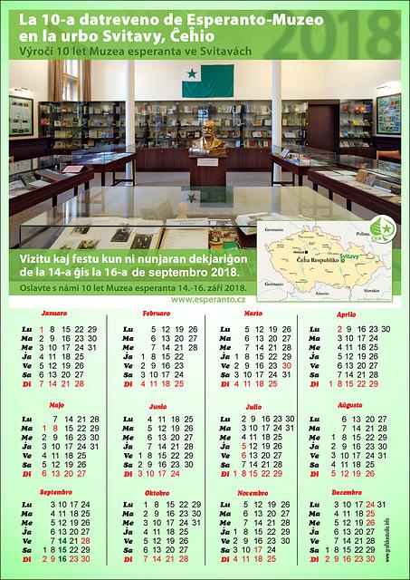 Kalendaro por 2018 (Esperanto-Muzeo Svitavy)