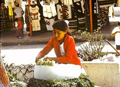 Sur un marché de Mexico (MEX) Juillet 1979. (Diapositive numérisée).