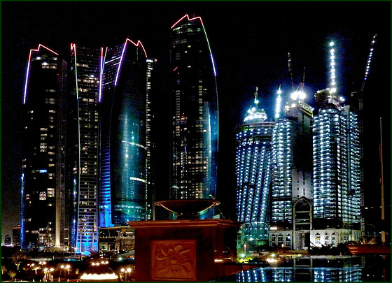 AbuDhabi : Ethiad Towers view by night from the Governator palace -
