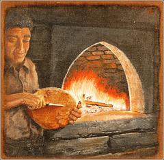 Usseaux : Arti e mestieri - la cottura del pane - murales