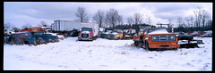 first snow at McLeans auto salvage