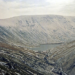 Looking to Hayeswater and the Straits of Riggindale leading towards High Street (February 1994)