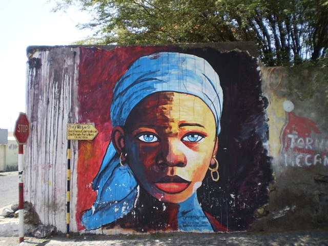 Mural of Cape-verdean girl.