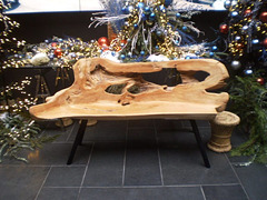Wooden bench and Christmas decoration.