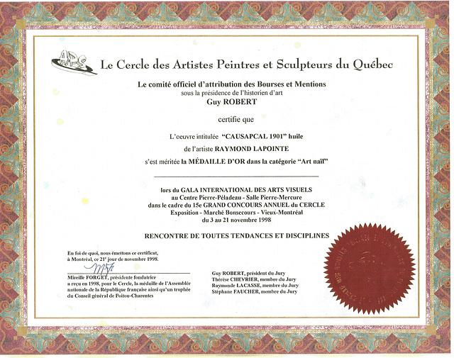 Certificat-Médaille d'Or 1998