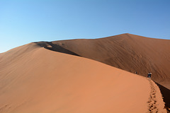 Namibia, Hiking on the Crest of the Big Daddy Dunes in the Sossusvlei National Park