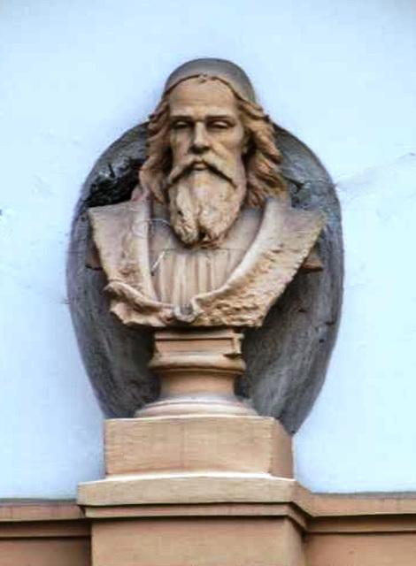 Busto de Komenio en Polička (proksime al Svitavy)