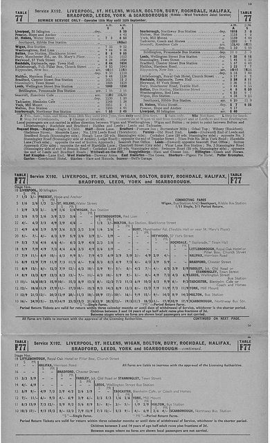 Ribble Motor Services and West Yorkshire Road Car Company joint service X192 timetable summer 1956