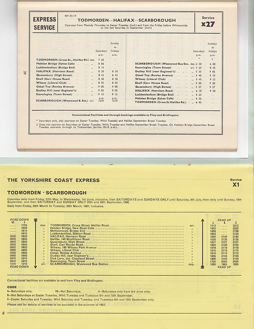 Hebble Motor Services Todmorden-Halifax-Scarborough express service timetables