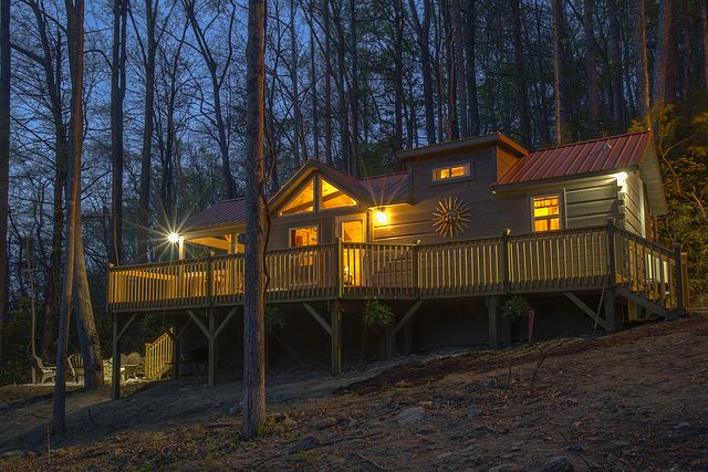 Twilight view of Pisgah Getaway