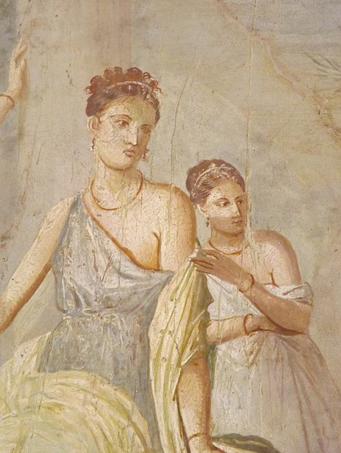 Detail of a Wall Painting with Herakles and Omphale from the House of the Prince of Montenegro in Pompeii in the Naples Archaeological Museum, July 2012