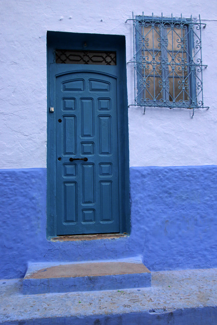 Blue door  with panels