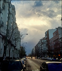Madrid. Outside my flat. Storm brewing.
