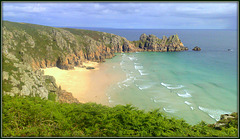 Pednvounder Beach and Logan Rock, Porthcurno, and two distant yachts.. Of course this one's for Pam too!