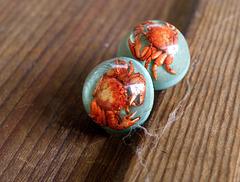 Coastal souvenir earrings, 1950s