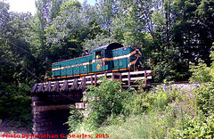 Green Mountain #405 on Ludlow Bridge, Edited and Cropped Version, Ludlow, Vermont, USA, 2015