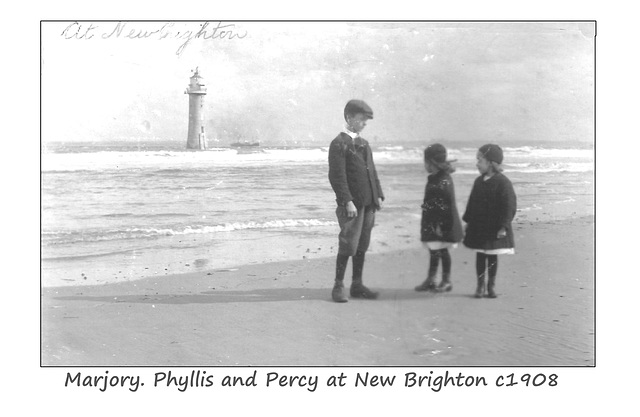 Marjory & Phyllis with Percy at New Brighton c1908