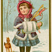 Girl with Toys in Snow—Christmas Trade Card for Edward Ridley & Sons, 1880