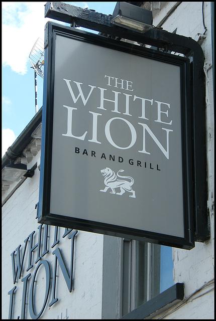 boring White Lion pub sign