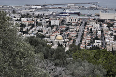 Haifa Port and the Shrine of the Bab, Take #1 – Viewed from Yefeh Nof Street, Haifa, Israel