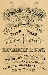 Christmas Greeting, Edward Ridley & Sons Department Store, New York City, 1880