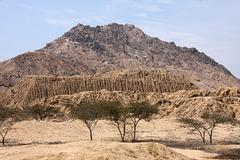 View of El Purgatorio and an adobe pyramid