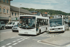 Mid Wales KX07 KNW and Langleys Coaches MX56 NLO in Aberystwyth - 27 Jul 2007